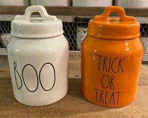 """Rae Dunn New 2021 Halloween White """"BOO"""" & Orange """"TRICK OR TREAT"""" Baby Canisters"""