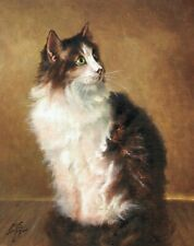 Original Oil Portrait Painting Art Siberian Cat Classic Artist Signed Artwork