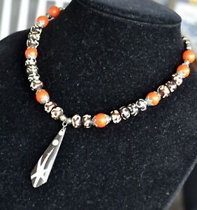 African tribal style necklace, African bone necklace, (1149)