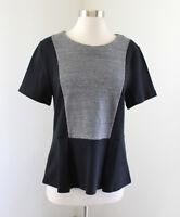 J.Crew Factory Color Block Peplum Top Size M Short Sleeve Blouse Gray Black