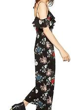 New with Tags Zara Black Floral Print Ruffle Strap Off Shoulder Jumpsuit XS