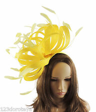 Large Yellow Fascinator for Ascot, Weddings, Derby,Mother of the Bride P4
