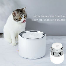 Dog Cat Pet Drinking Fountain Auto LED Stainless Steel Harmless Quiet 1.35L/46oz