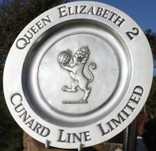 "CUNARD LINE QUEEN ELIZABETH 2 QE2 1987 MAIDEN VOYAGE 10.5"" ALUMINIUM WALL PLAQUE"