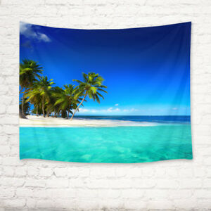 Blue Sky Sunny Beach Palm Tree Scenic Tapestry Wall Hanging Living Room Bedroom