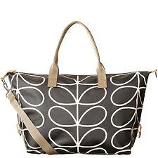 Orla Kiely Womens ETCClassic Linear Stem Holdall Overnight Bag Handbag Liquorice