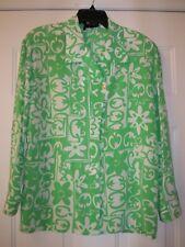 ESCADA VINTAGE 100% SILK Neiman Marcus Exclusive green Tropical Blouse Top 36