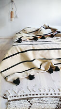MOROCCAN  HAND MADE CREAM AND CHARCOAL WOOL POM POM BLANKET/THROW