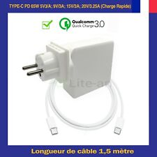 Chargeur USB-C Type PD 5V/3A, 9V/3A,15V/3A, 20V/3.25A 0-65W Max (Auto Réglable)