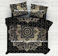 Indian Black Gold Ombre Mandala Bedspread King Bed Sheet Coverlet Sofa Throw Set