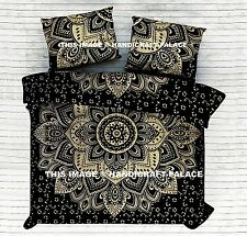 Indian Black Gold Ombre Mandala Bedspread King Bed Sheet Coverlet Sofa Throw Set