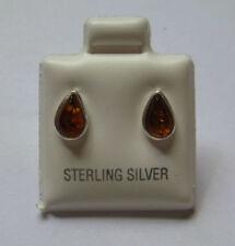 Pear Sterling Silver Amber Fine Earrings