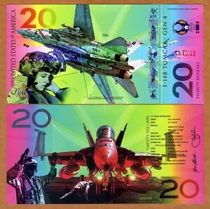 USA, $20 Private Issue Polymer, UNC > F14b Fighter Jet, Air Force, Navy