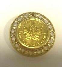 18K Pendant with Canadian Maple Leaf 1/10 Ounce .9999 Fine Gold Coin    4252-33