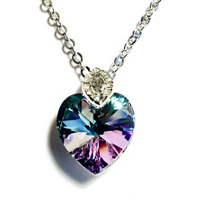 Swarovski Elements Crystal Heart Pendant Necklace Platinum Plated Color VR Charm