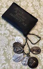 Vintage Jesus Mary & Joseph Protect Me Pocket Shrine Keychain w/ Medals-Estate