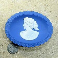 "Wedgewood Jasperware oval ring tray trinket dish blue 'cameo' Germany 3.7"" ᵇ p1"