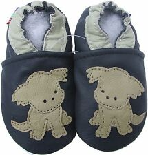 carozoo puppy navy blue 6-12m soft sole leather baby shoes