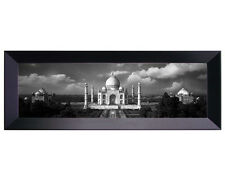 Framed Canvas 38x13 Panoramic View of Taj Mahal on a Cloudy - Islamic Art/Gift