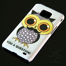 Samsung Galaxy S2 i9100 Hard Handy Case Schutz Hülle Etui Eule Schnurbart Owl