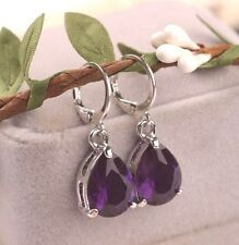 SMALL SILVER TONE PURPLE FACETED CRYSTAL TEAR DROP PAIR OF  EARRINGS