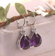 Pequeño Tono Plata Púrpura Facetado Cristal Lágrima Par de Aretes
