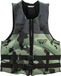 Mens NEOPRENE Life Jacket Fly Racing Vest Zip w Buckles Black/Green Camo XS-XL