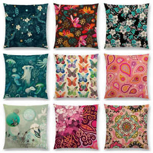 Gorgeous Flowers Circle Floral Curves Abstract Pattern Blossom Cushion Cover