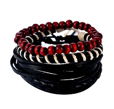 UK Men Ladies Rope Beaded Multi Layer Leather Surfer Beach Bracelet Wristband
