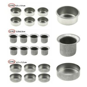 12 Metal Round Candle Cups Tapered Wax Tea Light Holders Jar Making Container