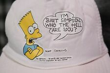 Vintage 1990 Bart Simpson White Snapback Mesh Hat Cap Who The Hell Are You?