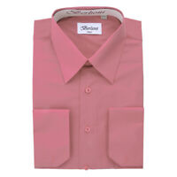 Berlioni Italy Men's Convertible Cuff Solid Italian French Dress Shirt Rose