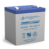 Power-Sonic Powersonic PS-1250F1 - 12 Volt/5 Amp Hour Sealed Lead Acid Battery w
