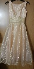 Vintage 50s 60s Union Label Metallic Gold Lace Full Skirt Party Prom Dress Sz 7