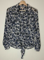 Banana Republic Womens Shirt Size 4 Floral Sheer Blouse Blue Gray Long Sleeve