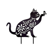 Cat Animal Silhouette Garden Stake Yard Art Lawn Ornament Outdoor Home Decor