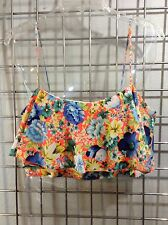TOPSHOP~ Bright Floral Cotton Knit Lined Bustier Ruffle Crop Top- NEW Size 10