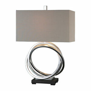 Uttermost Soroca Table Lamp | Silver Rings Table Lamp with Linen Shade