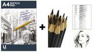 Set Of 12 GRADED ART SKETCHING PENCILS + A4 Artist Sketch Drawing Book Pad 70gsm
