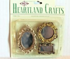 Heartland Crafts Dollhouse Miniature Mirrors 3-Piece Set Framed Wall Mirror NEW