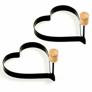 2-PACK Non Stick Metal Heart Shaped Fried Egg Rings Pancake Mold Ring w/ Handles