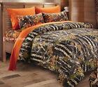 7pc Full size Black CAMO COMFORTER / Orange SHEET SET : BED IN A BAG WOODS HUNT