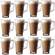10 x 240ML COFFEE TEA TALL CLEAR GLASS CAFE LATTE CAPPUCCINO HOT DRINK MUGS CUP