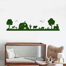 Vinyl Wall Decal Rural Landscape Village Livestock Tractor Stickers (1636ig)