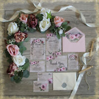 Personalised Wedding Invitations,ROMANTIC PINK,RUSTIC WITH ENVELOPES,packs of 10