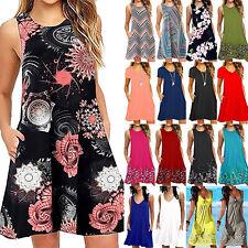 Womens Boho Floral Sleeveless Tunic Summer Loose Beach Shirt Tank Top Mini Dress