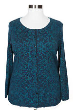 CATHERINES NAVY BLUE TEAL LONG SLEEVE BUTTON CARDIGAN SWEATER PLUS Sz 3X 26/28W