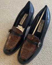 Brighton Ejan Black Brown Heel Pump Dress Shoe Size 7.5 Medium In Box