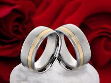 Eheringe Verlobungsringe Partnerringe aus Edelstahl mit 333 Gold Ringgravur EG44