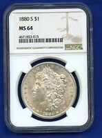 1880 S NGC MS64 Morgan Silver Dollar $1 1880-S NGC MS-64 Super PQ !